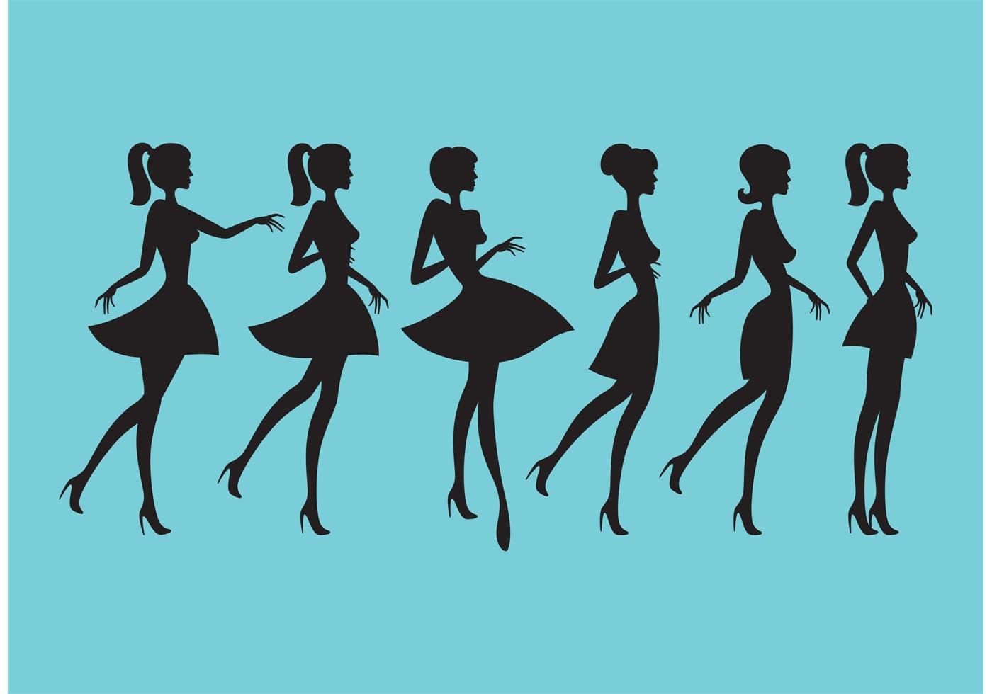 Schöne Frauen Koerper Skizze Silhouetten Weibliche
