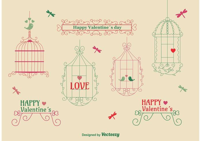 Paquete de la jaula del pájaro del amor