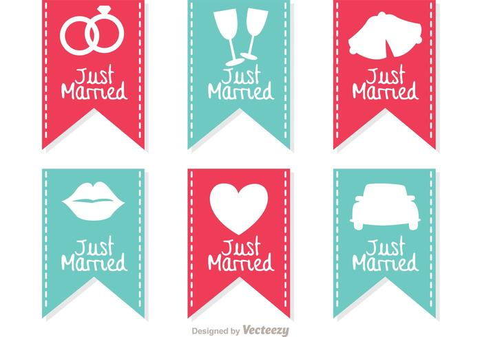 Just Married Sign Banner Vectors
