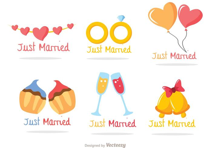 Just Married Colorful Vectors