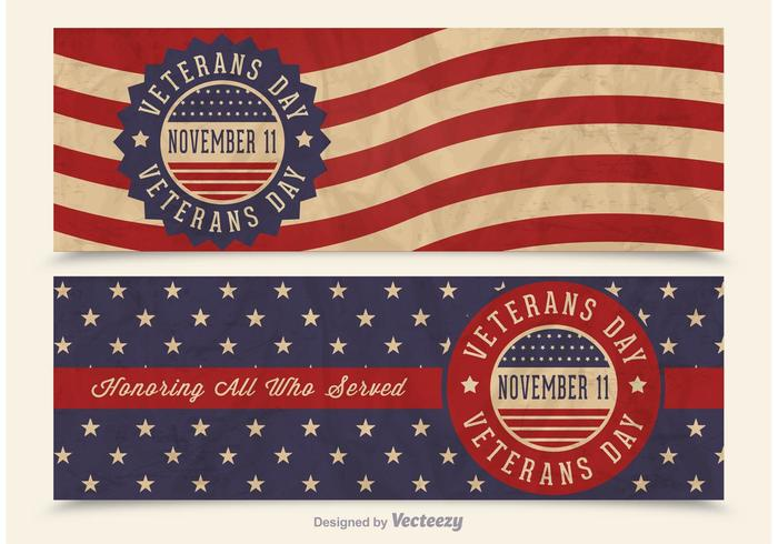 Gratis Veterans Day Vector Retro Banderoller