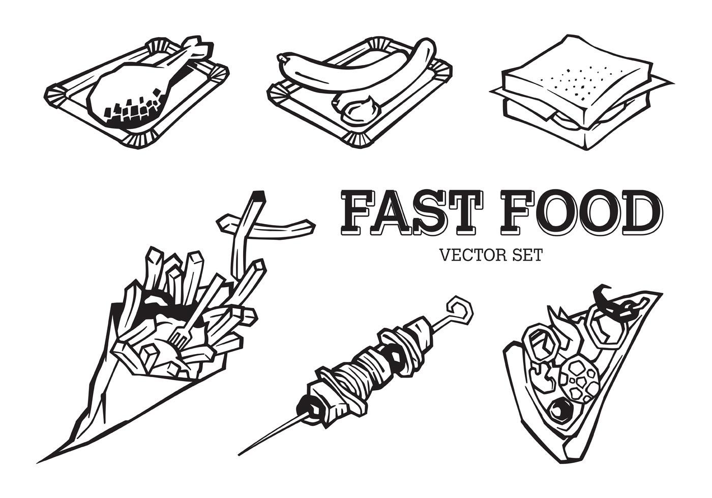 Fast Food Set Menu Yellow Gradient Background Fast Food: Free Vector Fast Food Set