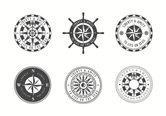 Free Vector Nautical Chart Badges