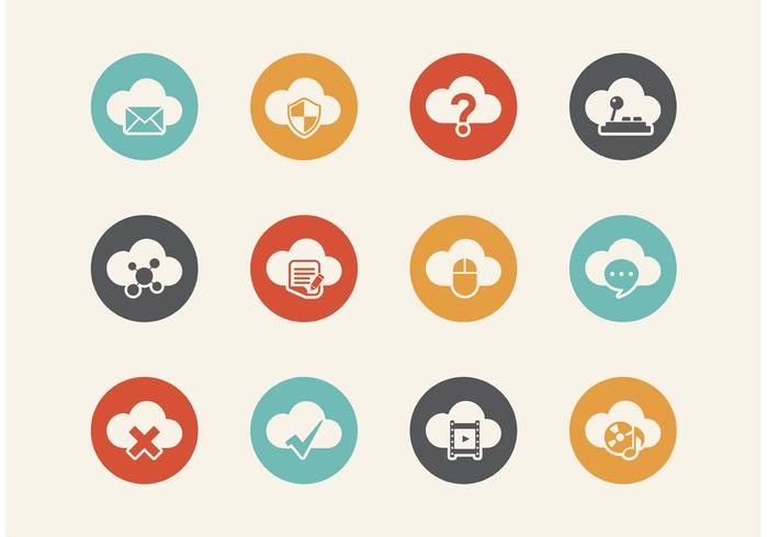 Kostenlose Retro Cloud Computing Vector Icons