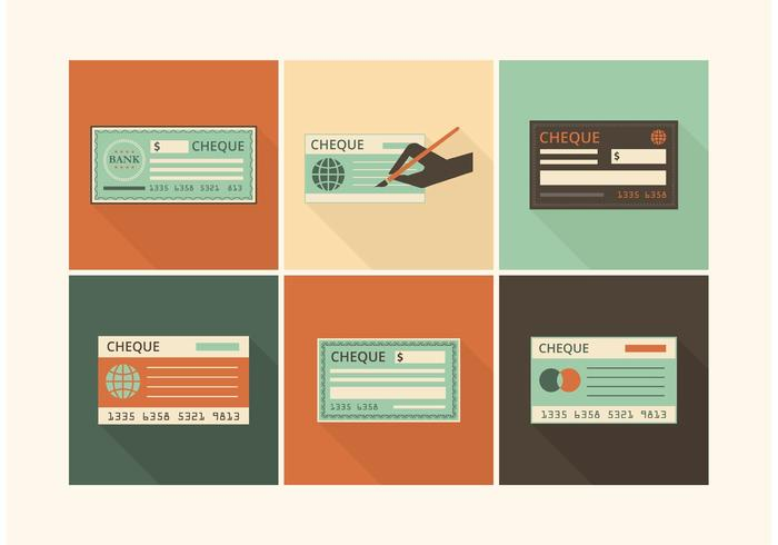 Retro Blank Check Vector Set