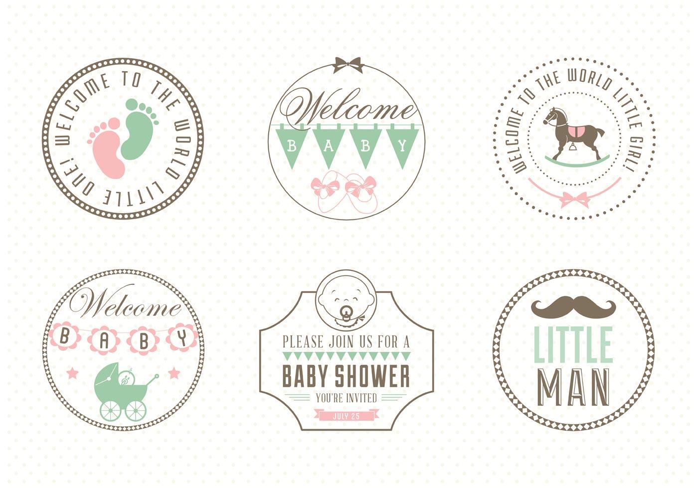 Free baby label set vector download free vector art stock graphics