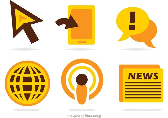 News Mass Media Icons Vector