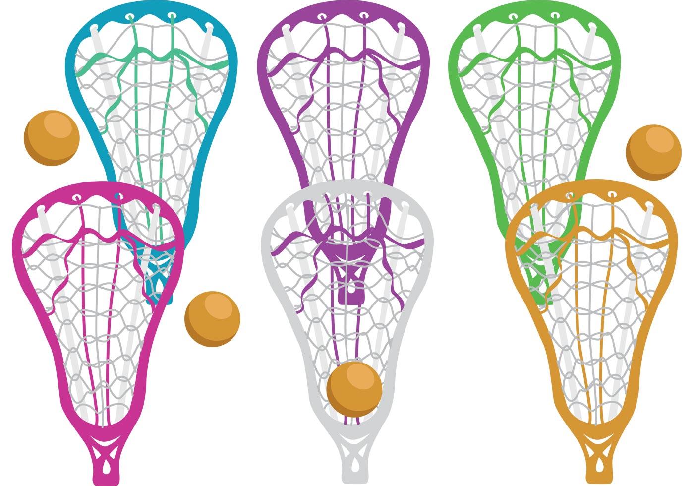 Cute Watercolor Olumpic Sports Equipment Background Vector: Colorful Lacrosse Stick Vectors