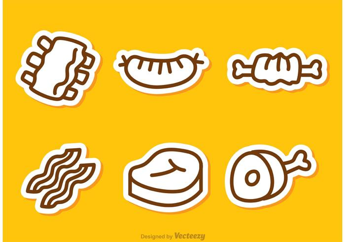 Simple Outline Meat Vectors