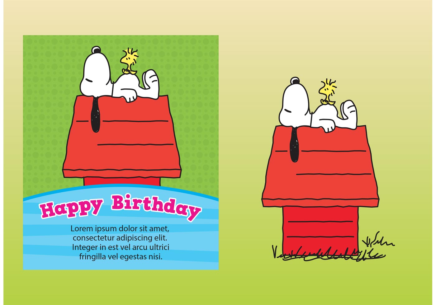 Snoopy Birthday Card Vector