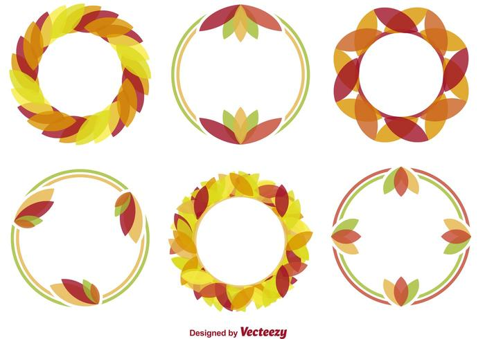 Minimal Autumn Wreath Vectors