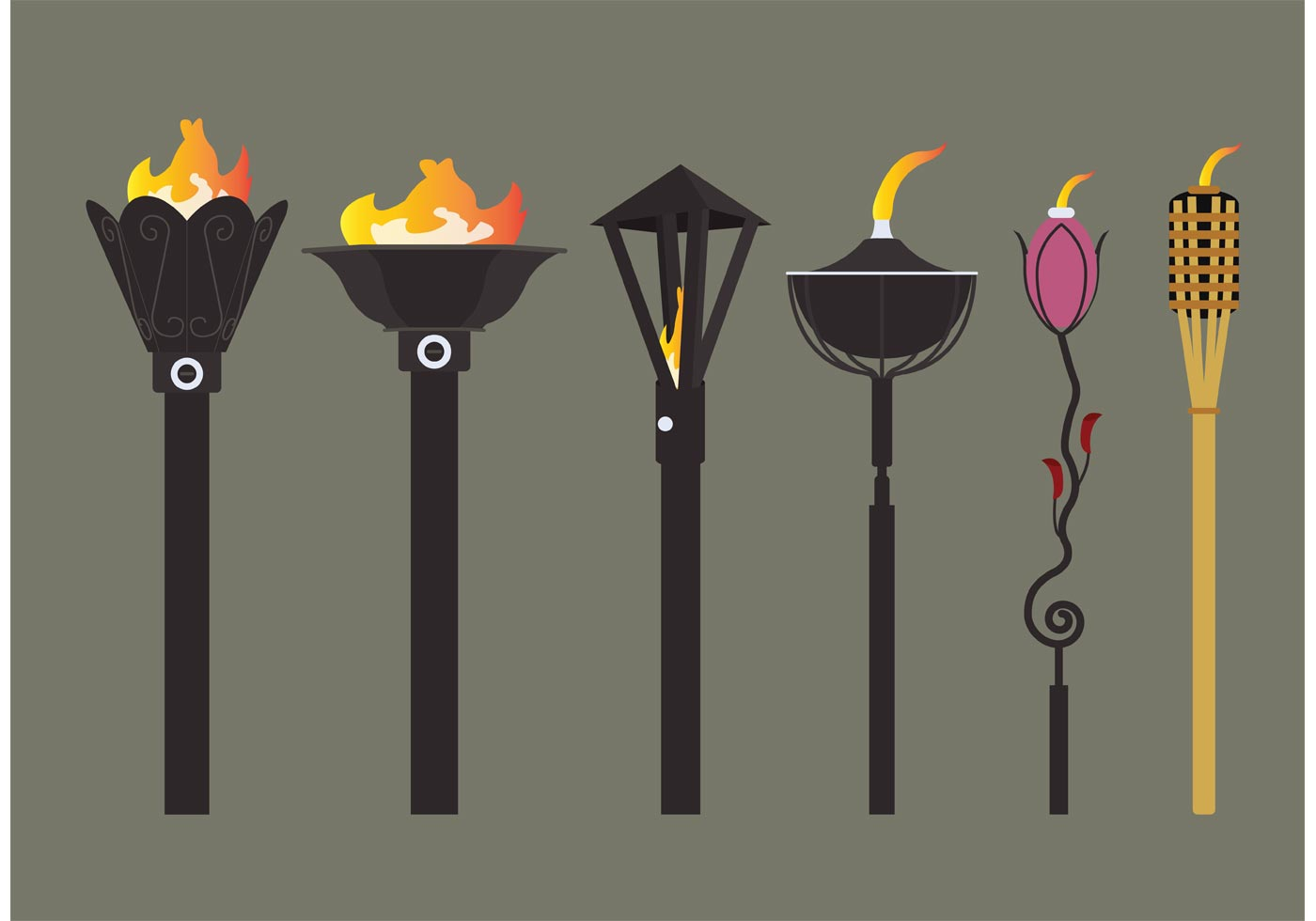 Tiki Torch Vectors Download Free Vector Art Stock