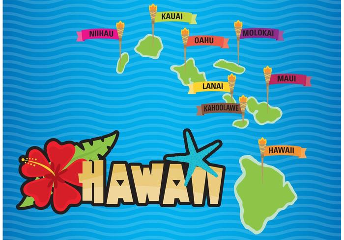 Tiki Torch Hawaii Map Vector