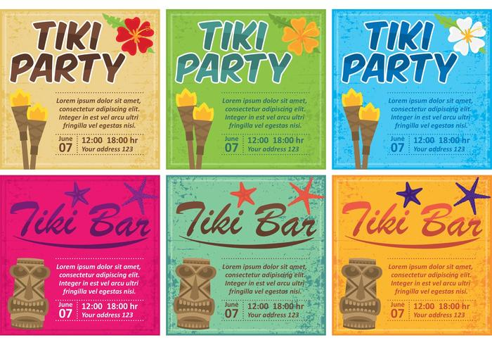 Tiki Torch Card Vectors