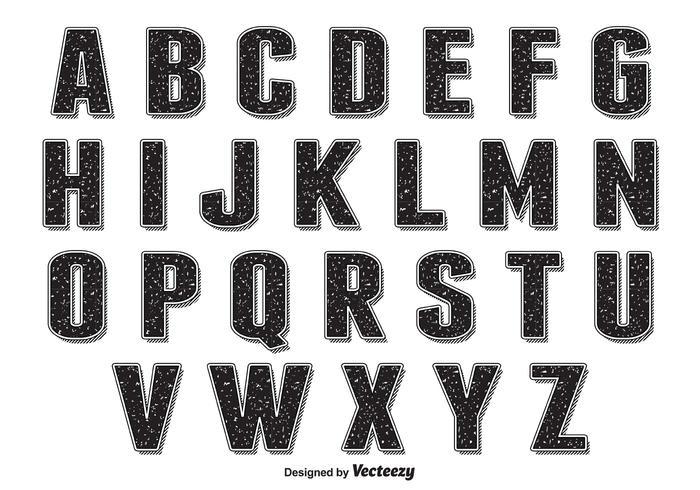 Retro Grunge Style Alphabet