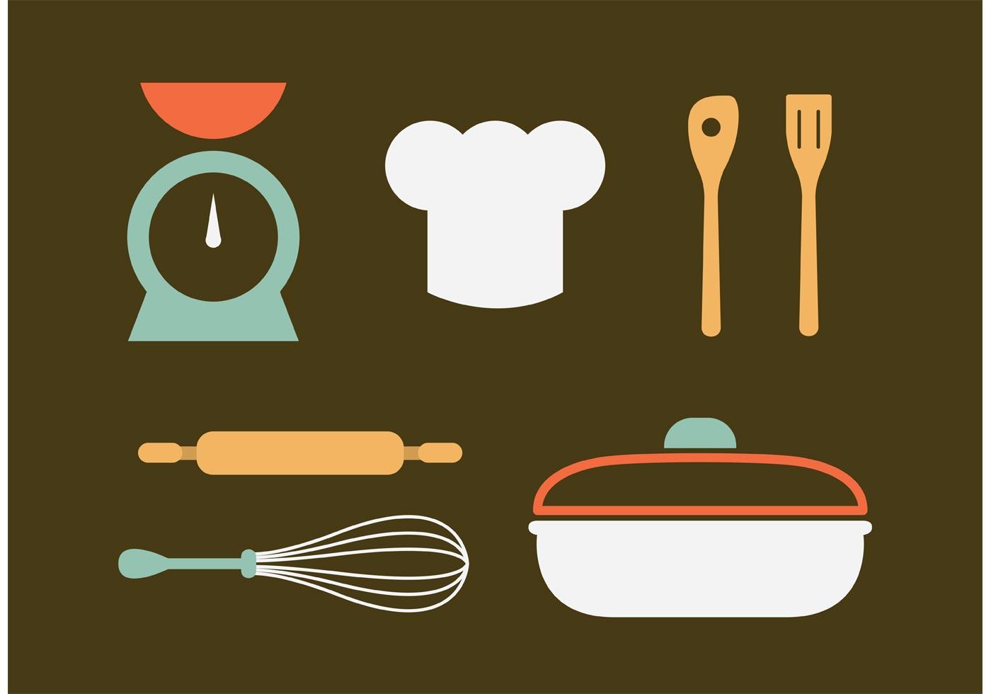 vintage kitchen utensils vectors download free vector