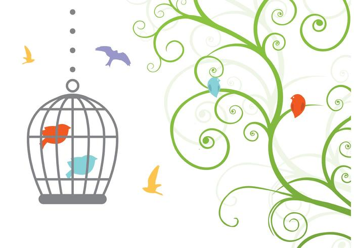 Swirly Vintage Bird Cage Vector
