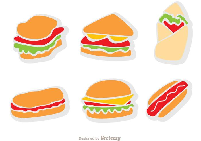 Flat Icons Fast Food Vector