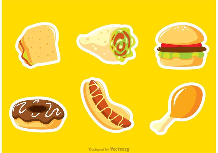 Fast Food Sticker Vectors
