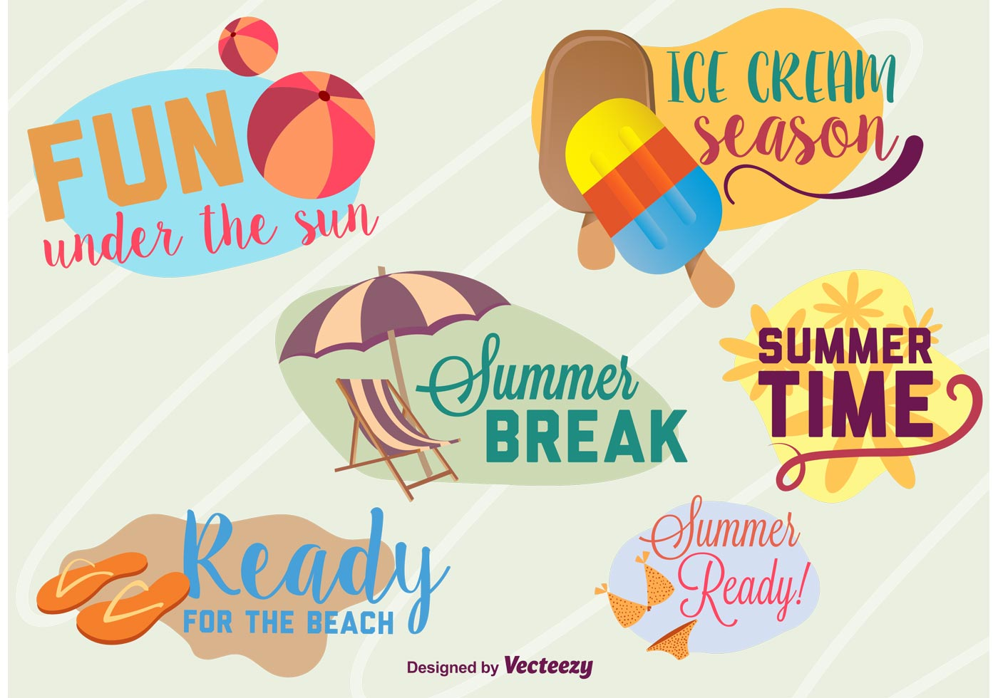 Enjoy Tropical Summer Holidays Backgrounds Vector 04 Free: Summer Time Beach Graphics