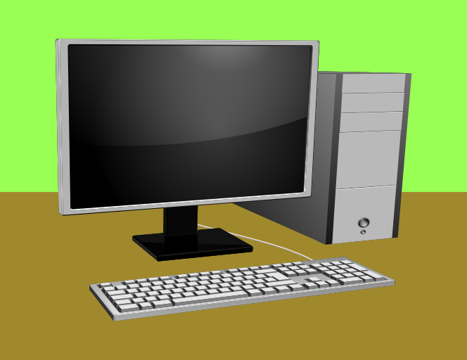 Computer With Monitor And Keyboard Download Free Vector