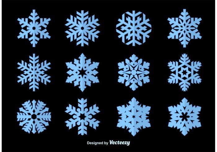 Vetores da silhueta dos flocos de neve