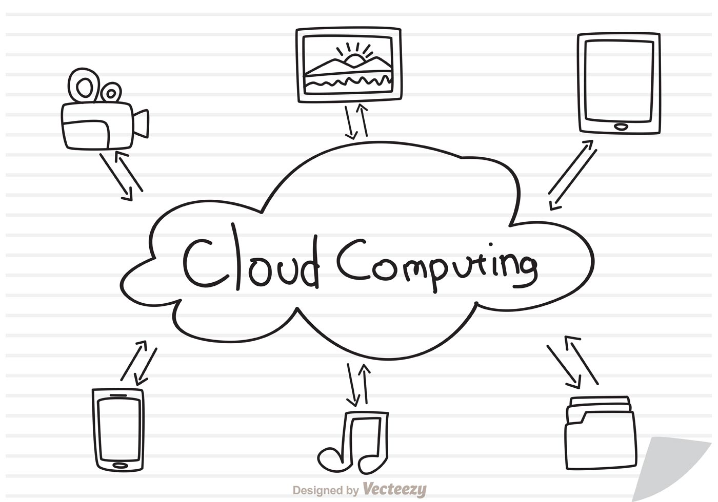Cloud computing concept sketch on paper vector download for Sketch online free