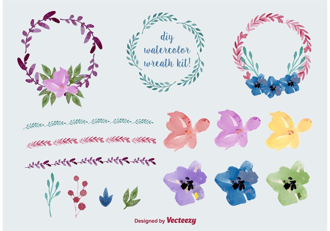 Watercolor Floral Wreath Vectors - Download Free Vector ...