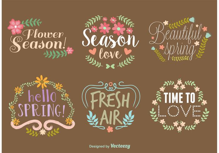 Spring Vector Typography Wreaths