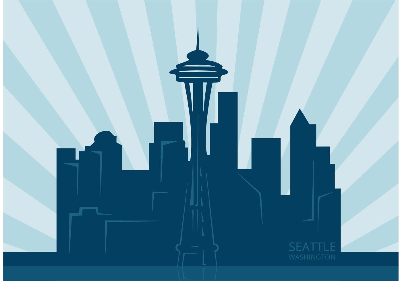 free vector seattle city skyline download free vector Seattle Rainier Skyline Silhouette Seattle Skyline Stencil