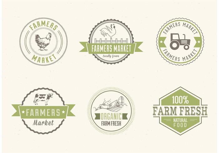 Farmers Market Vector Labels