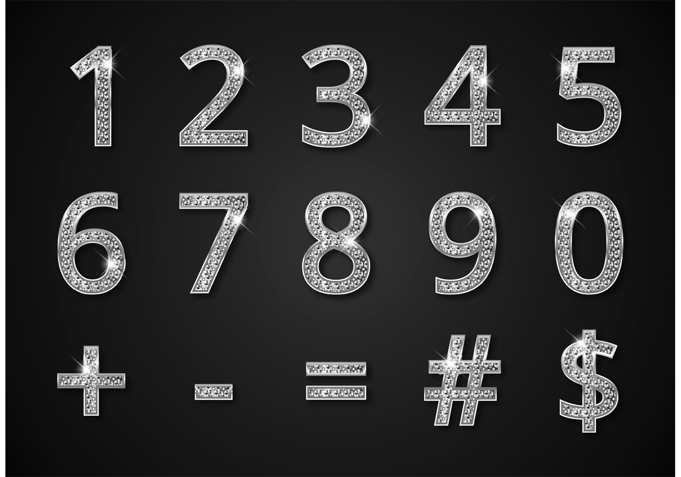 free diamond digits and symbols vector download free