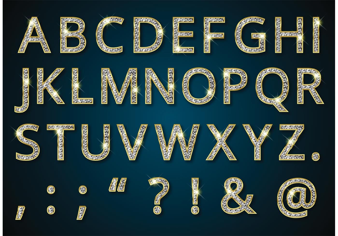 Free Golden Alphabet With Diamonds Vector Download Free