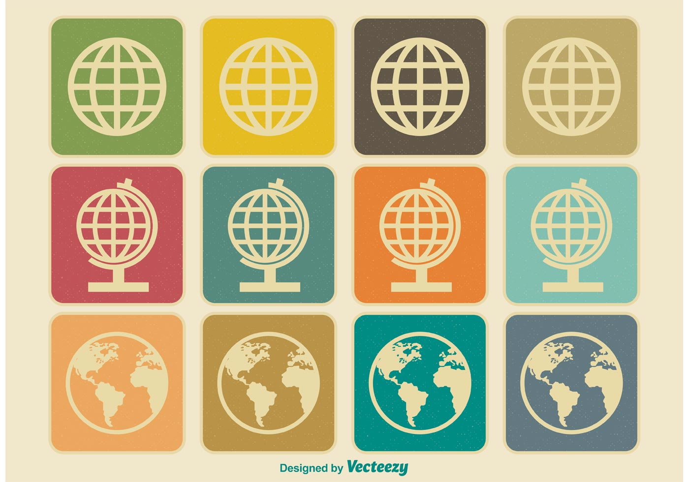 Vintage Earth / Globe Icons - Download Free Vectors ...