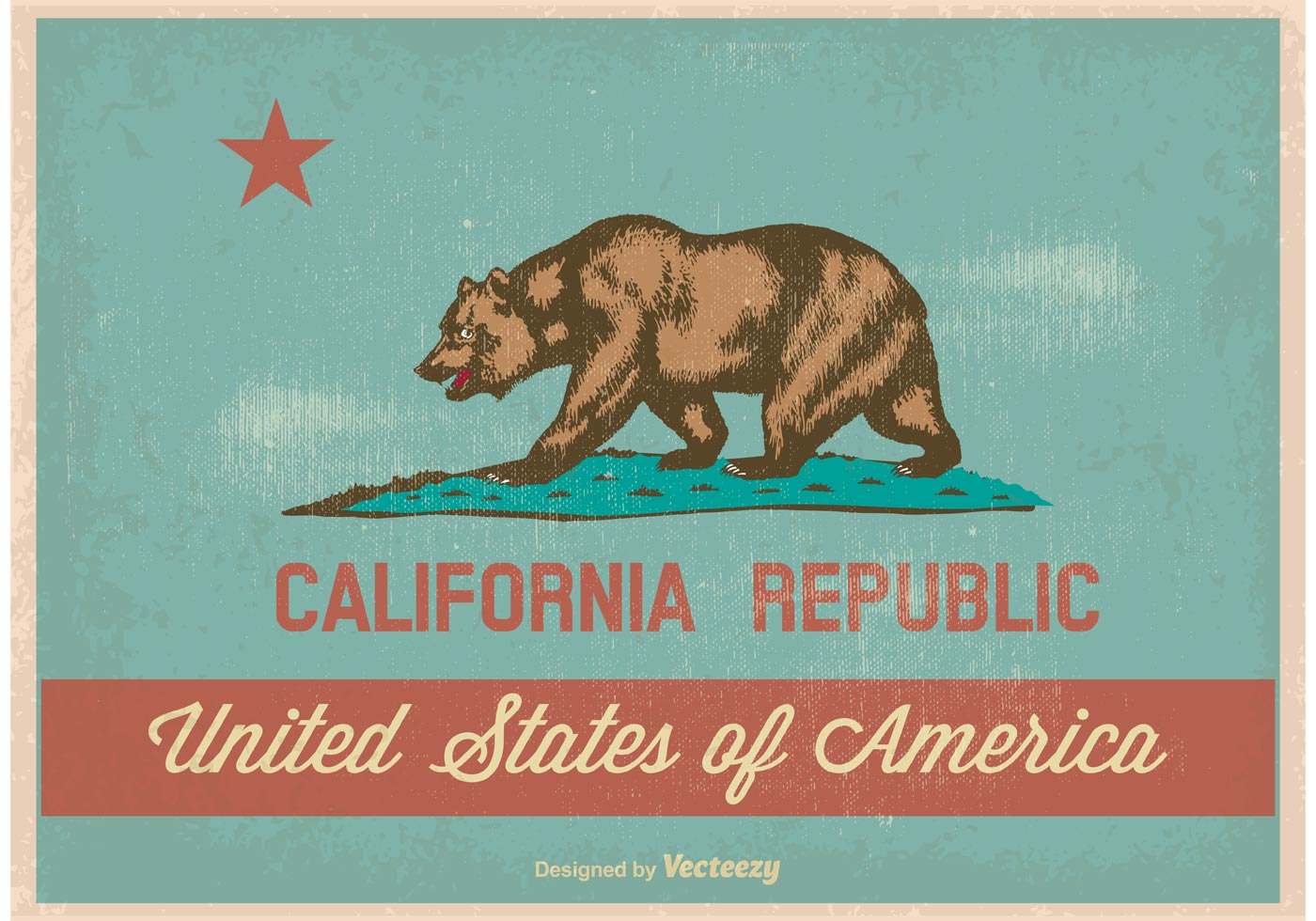 Vintage Style California Flag Download Free Vector Art
