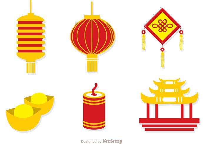 Chinese Lunar New Year Icons Vector