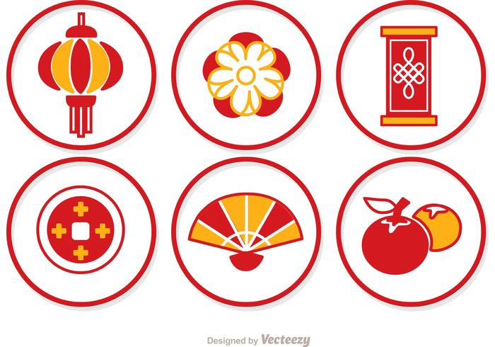 Simple Lunar New Year Circle Icons Vector