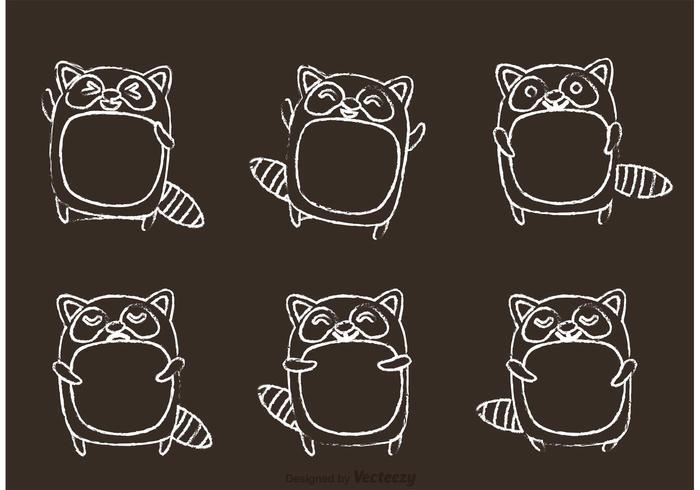 Chalk Drawn Raccoon Cartoon Vector