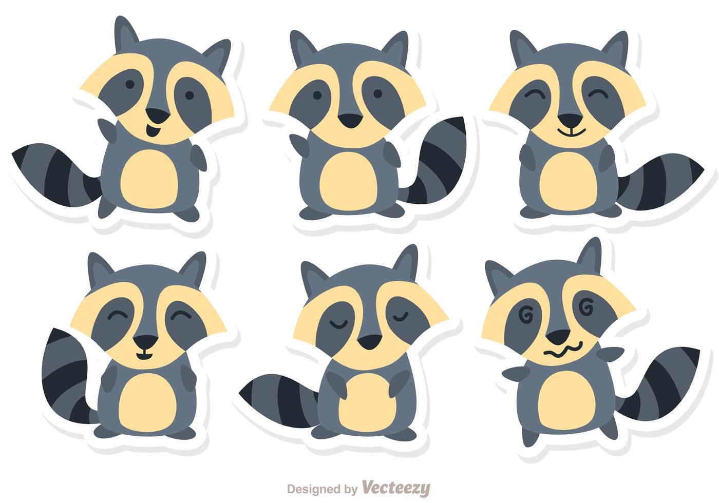 Vector Cartoon For Free Download About 5 514 Vector: Cartoon Raccoon Set Vector