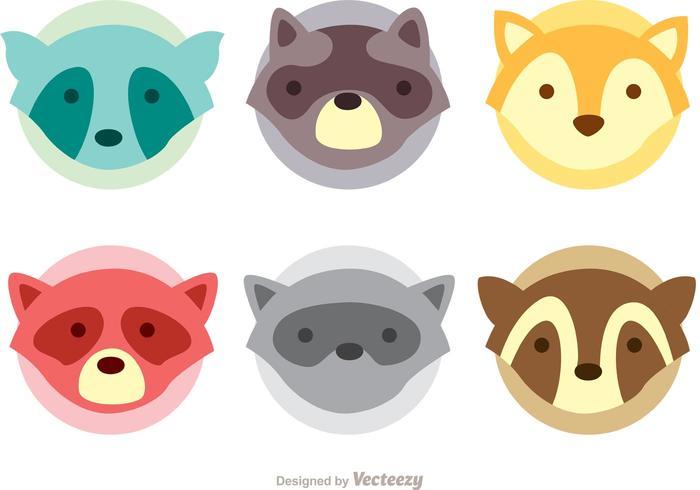 Raccoon Head Icons Vector