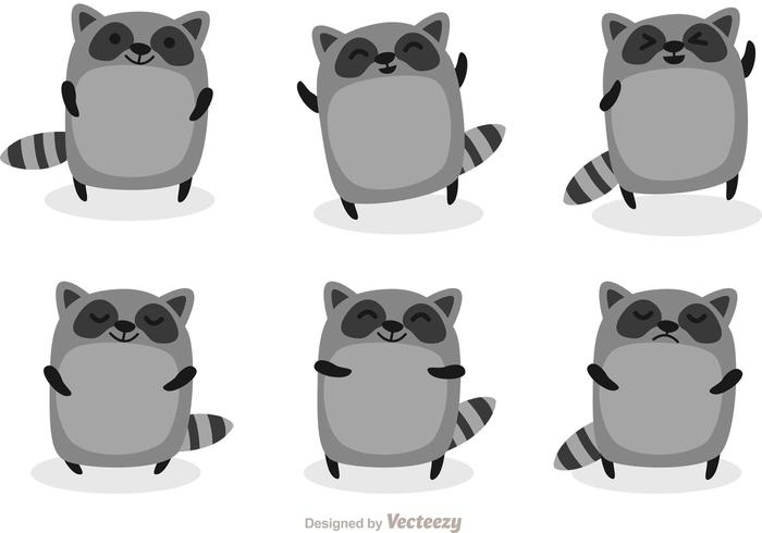 Cute Racoon Cartoon Vectors