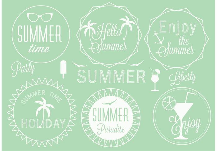 Conjunto de etiquetas de verão vetorial grátis