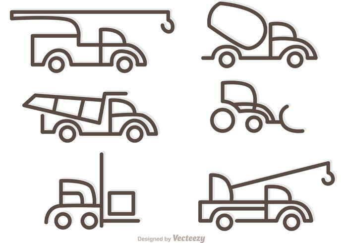 Simple Outline Trucks Icons Vector
