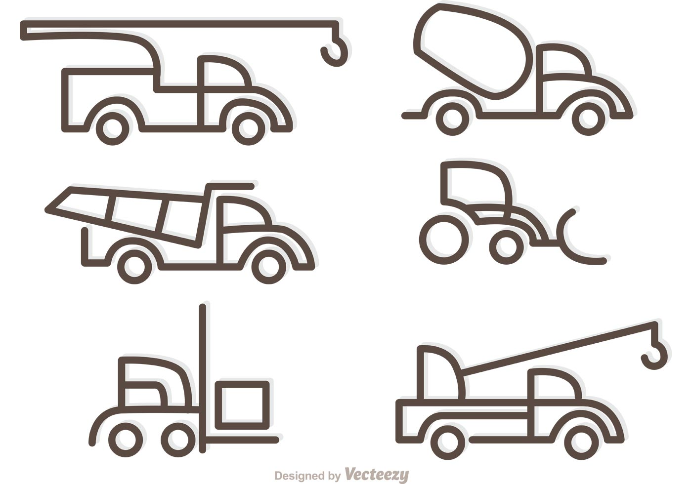 simple outline trucks icons vector download free vector art