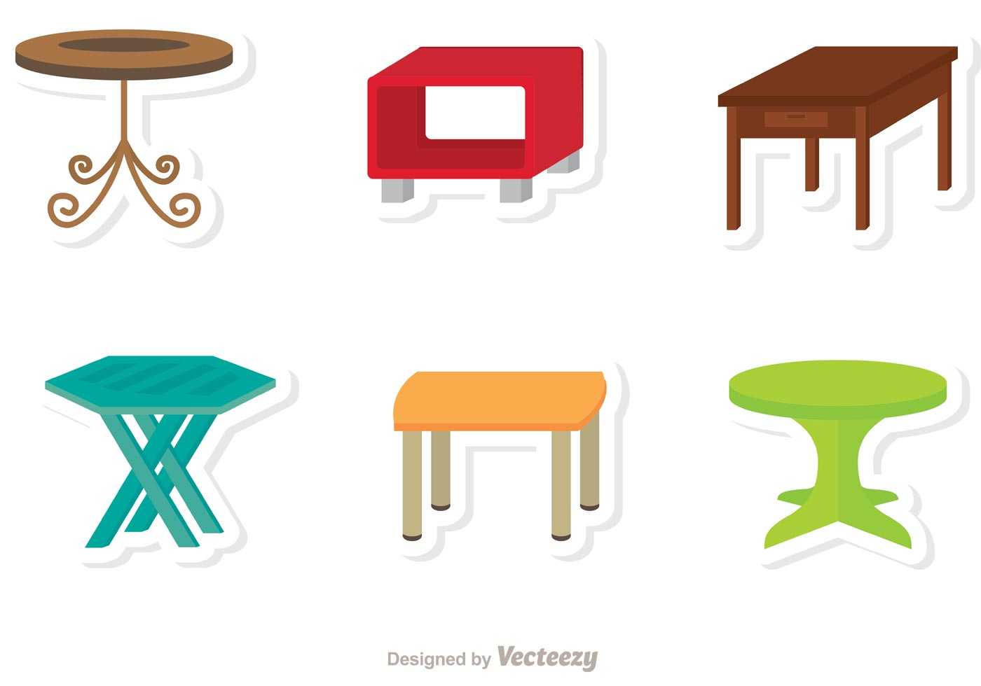 Table Flat Icons Vector Download Free Vector Art Stock
