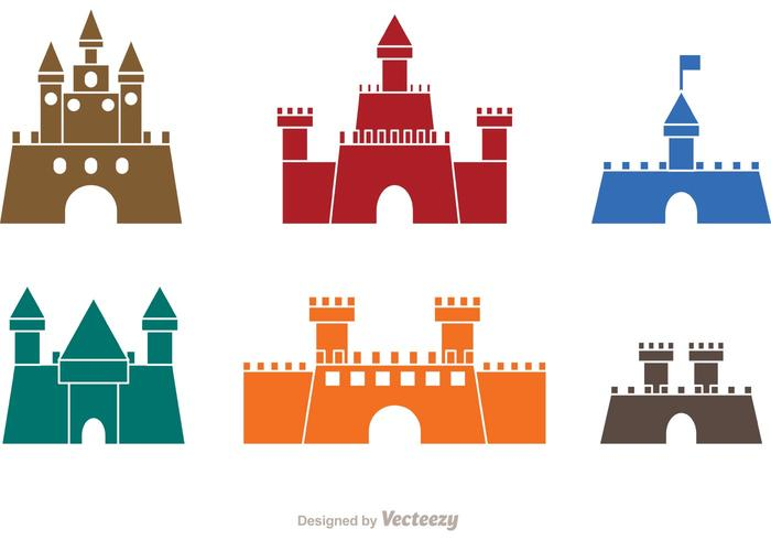 Colorful Castle Icons Vector