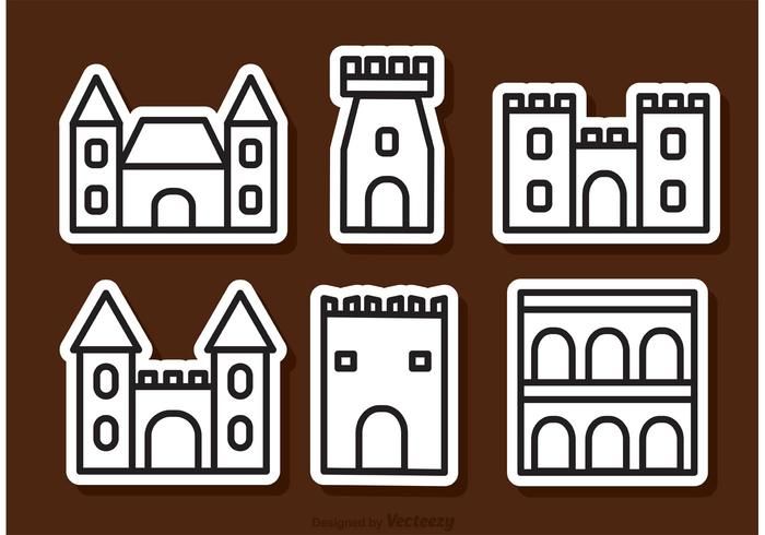 Outline Fort Icons Vector
