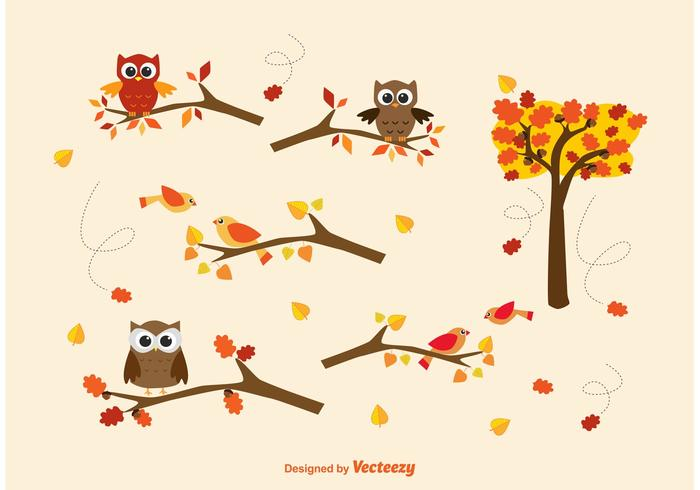 Vector Autumn Branches & Owls