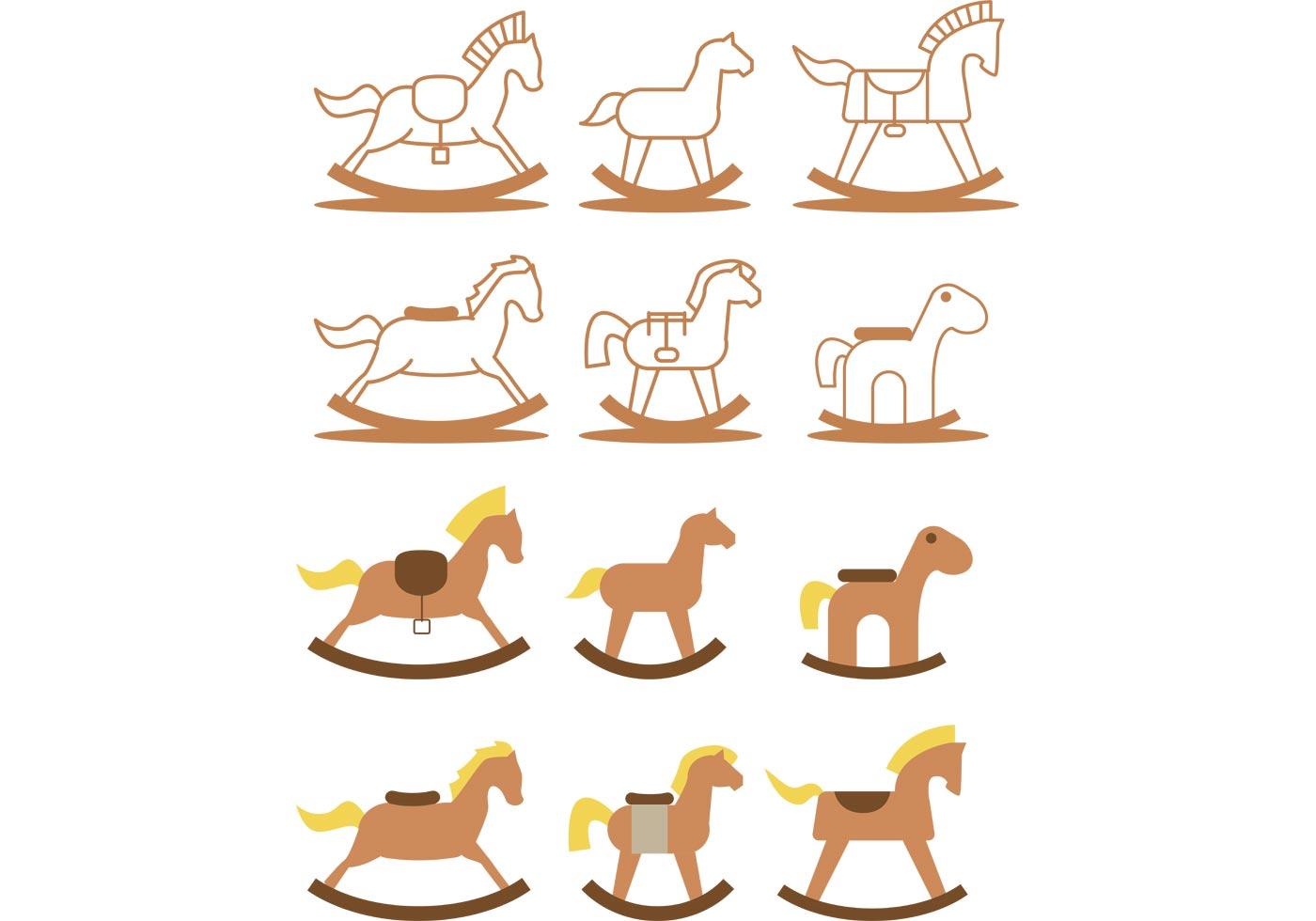Rocking Horse Vector Pack Download Free Vector Art