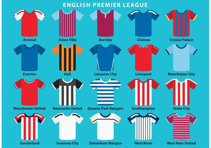 Vetores ingleses do Jersey do esporte